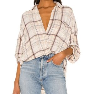 We The Free | Free People Plaid Button Up Shirt S